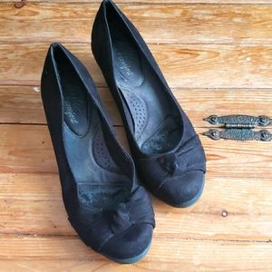 Black suede heels wedge 8